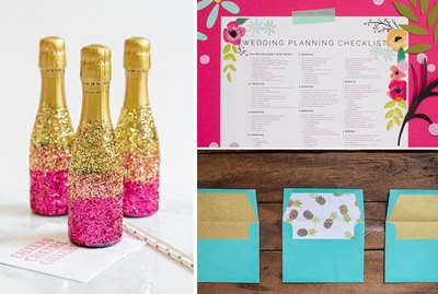 Champagne bottles, a wedding event checklist and envelope liners.