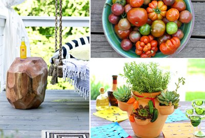 a side table made from a tree trunk, a bowl of tomatoes, an herb garden in a pot.