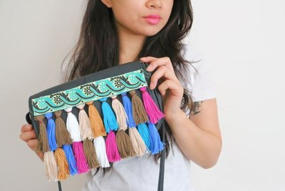 Finished rainbow tassel fringe clutch