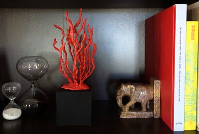 DIY faux coral sculpture on a bookshelf.