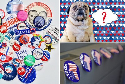 "election pins, a pug, and ""I Voted"" stickers."