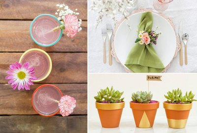 Floral drink stirrers, floral napkin ring, potted plants.