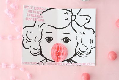 Bubblegum popup party invitations
