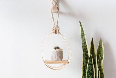 DIY Mid-Century Modern Hanging Teardrop Planter Shelf