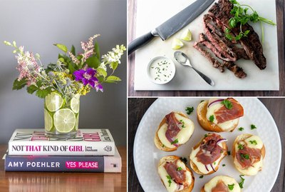 floral centerpiece, skirt steak and a prosciutto crostini