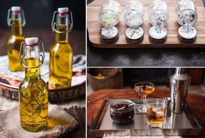 olive oil, salt and brandied cherries