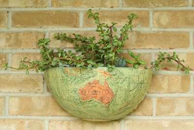Vintage globe wall planter