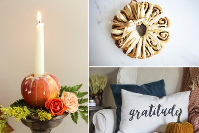 apple candle, cinnamon rolls, and a lumbar pillow