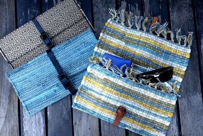 Upcycled no-sew clutches from placemats and faux leather belts