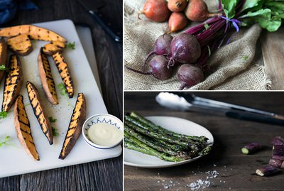 grilled sweet potatoes, grilled beets and grilled asparagus.
