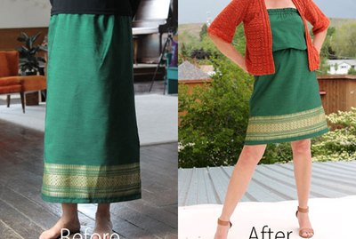 before and after of skirt and dress