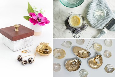 a faux marble jewelry box, foot balm and jewelry holders made of shells.