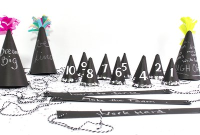 chalboard party hats with resolutions