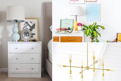 nightstand, artwork and chandelier