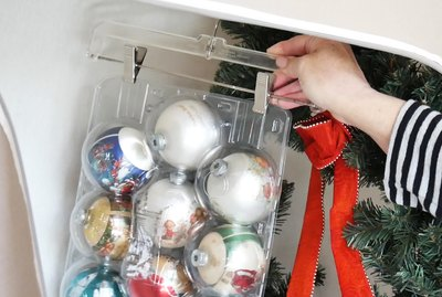 Hanging Christmas decorations in closet