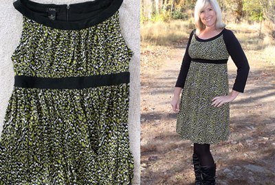 Before and after pictures of adding sleeves to a dress.
