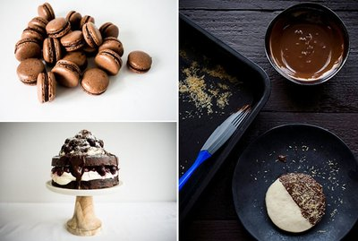 Photos of a chocolate shortbread cookie, chocolate macarons, and a black forest cake.