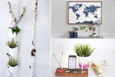 a wall planter, a map art piece, and a desk organizer.