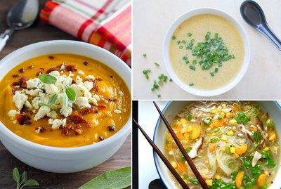 Butternut squash soup, ramen soup and egg drop soup.