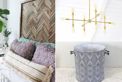 headboard, chandelier, hamper