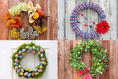 collage of four different wreaths