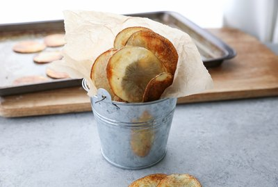 baked potato chips in a bucket
