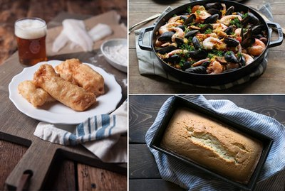 Beer-battered fish, seafood paella, Irish bread.