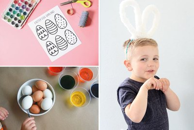 A group photo of a kid, eggs to color, and eggs to dye.