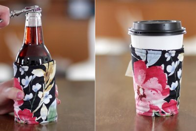 Finished hot and cold drink cozie