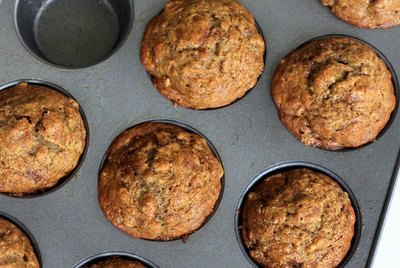 Baked banana nut muffins.