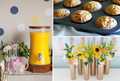 A mimosa bar, muffins and flowers in vases.