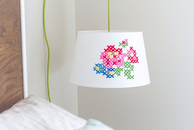 Faux cross-stitch lampshade