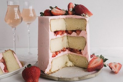 Sparkling Strawberry Rosé Cake is perfect for any celebration!