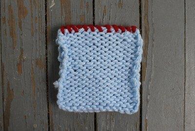 A knitting whip stitch seam