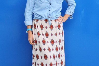 Woman wearing maxi skirt