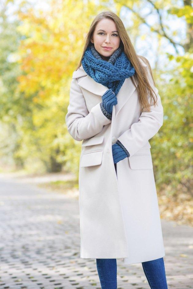 Woman Wearing Long Coat Outside in Autumn