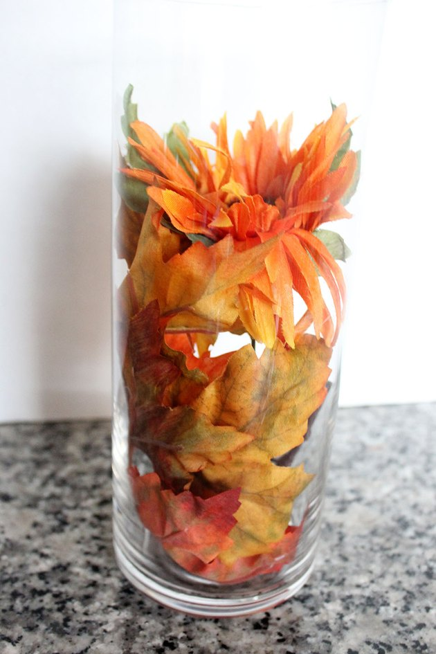 vase with leaves