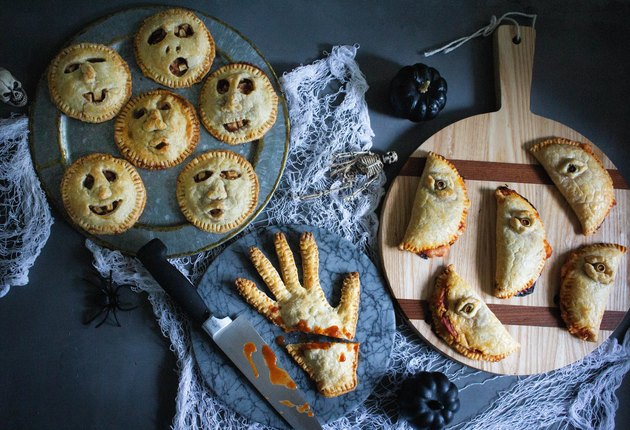 Shrunken head pies, severed hand pie, and creepy eye calzones