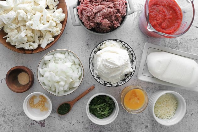 Ingredients for cauliflower baked ziti