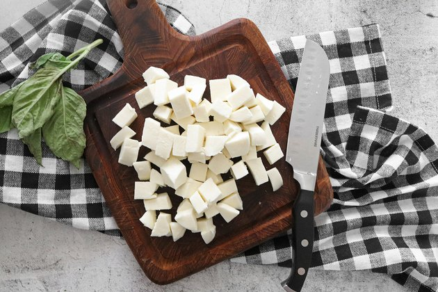 Cut mozzarella into cubes
