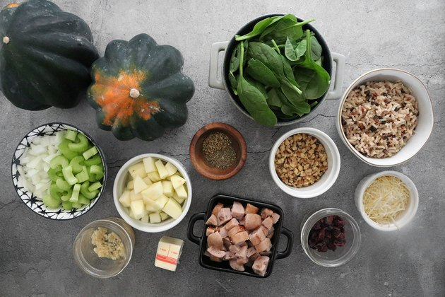 Ingredients for stuffed acorn squash