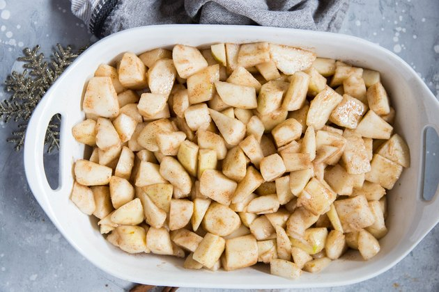 Chopped pears with spices in a casserole dish