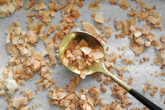 Toast coconut flakes