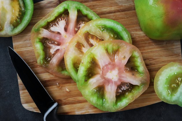Slice green tomatoes