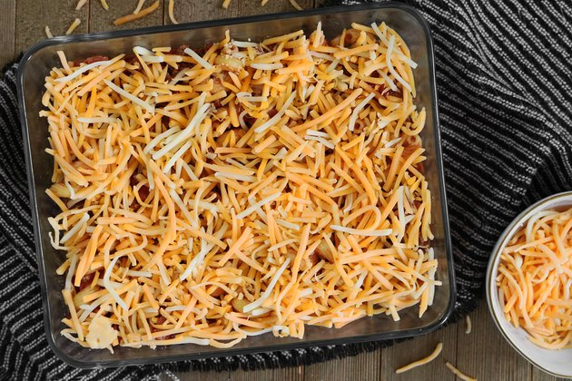 Add shredded cheddar cheese