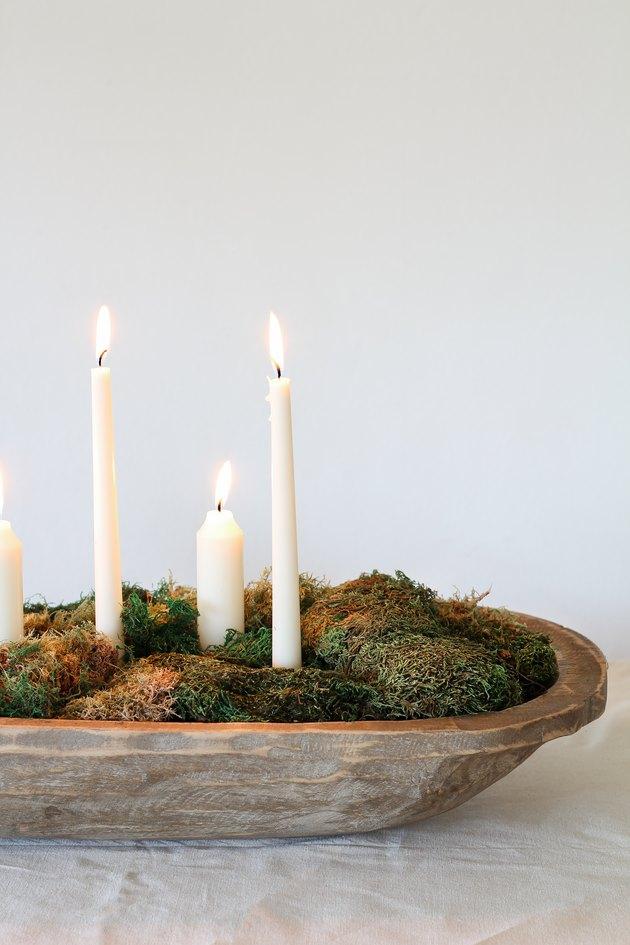 DIY moss bowl centerpiece
