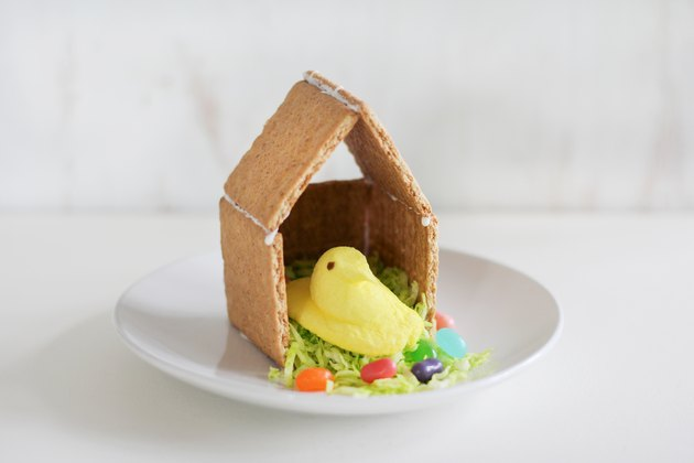 Bird house made with graham crackers and PEEPS