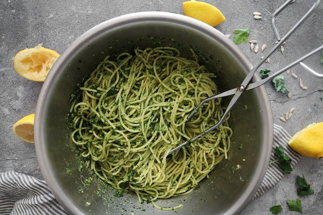 Toss pasta with kale pesto