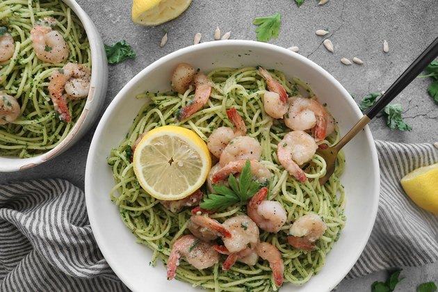 Kale pesto pasta with lemon garlic shrimp