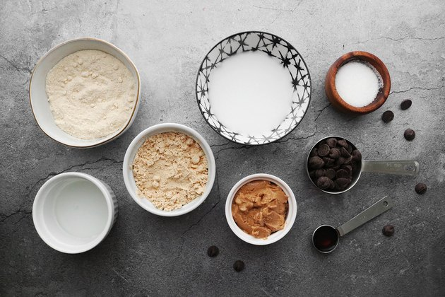 Ingredients for chocolate chip cookie dough protein bars